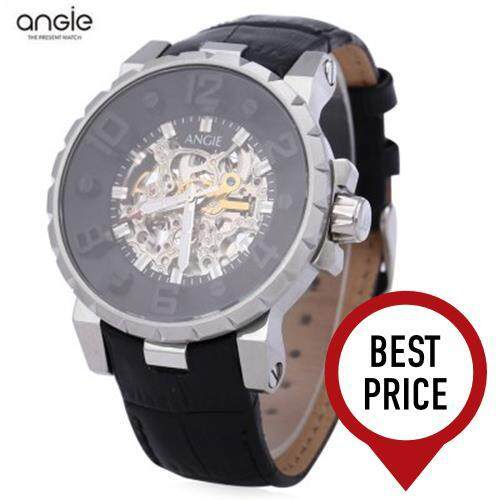 ANGIE ST7135M UNIQUE SERIES MALE AUTOMATIC WIND MECHANICAL WATCH 3ATM LUMINOUS POINTER HOLLOW-OUT DESIGN DIAL WRISTWATCH (SILVER)