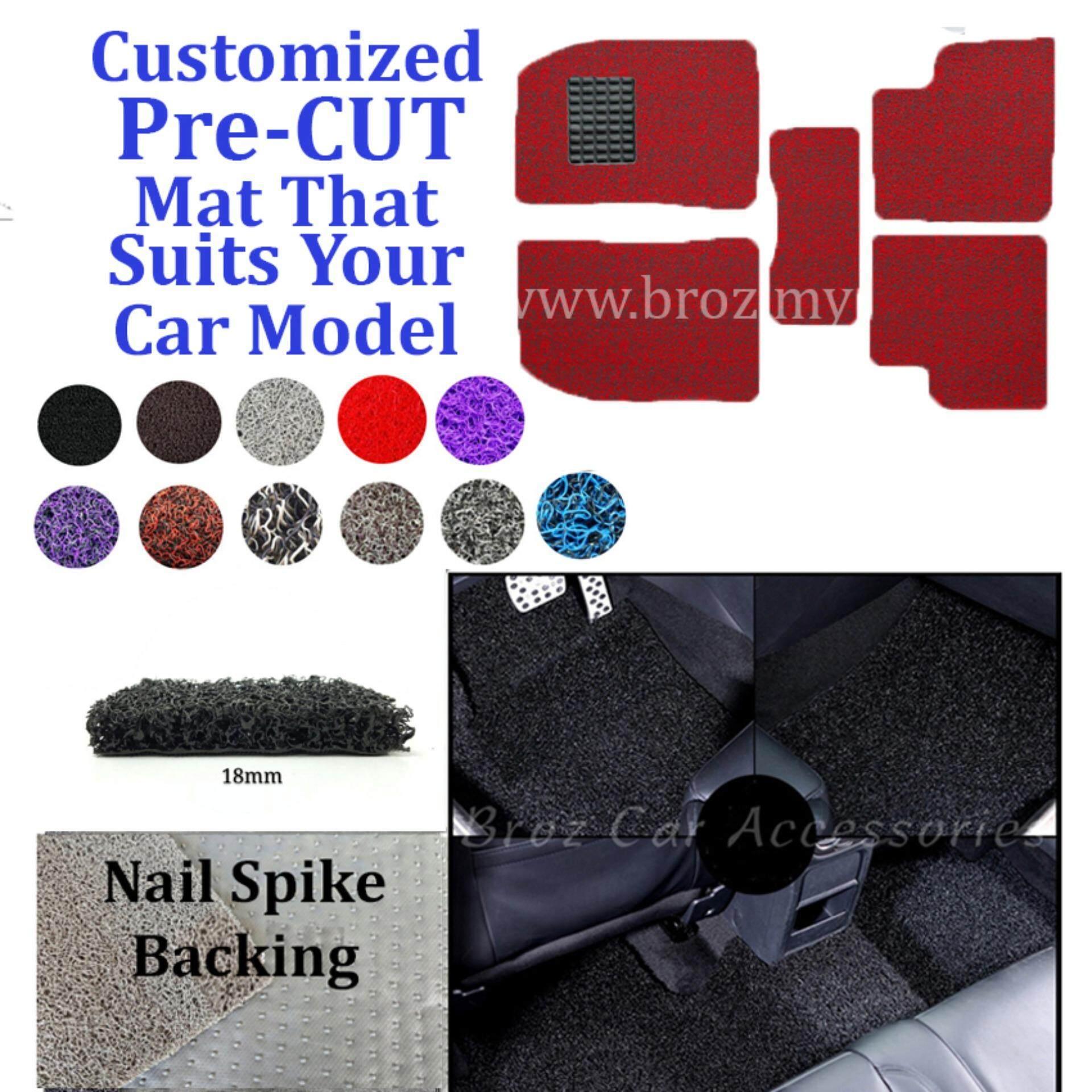 Broz Mercedes E-200 18MM Customized PRE CUT PVC Coil Floor Mat Anti Slip Carpet Nail Spike Backing - Red Black