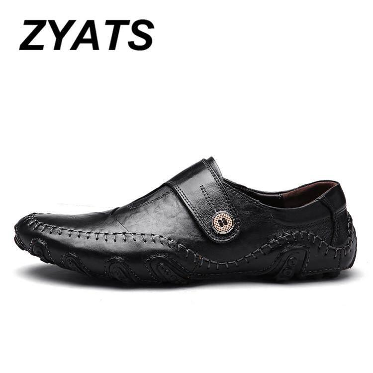 Detail Gambar Zyats Kulit Asli Pria Bernapas Kasual Sepatu Kerja Sepatu Kulit Formal Mengemudi Malas Sepatu Loafer dan Selip-On Size38-46 Terbaru