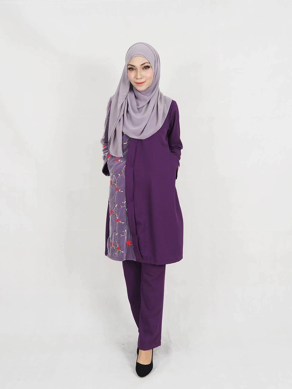 Muslimah Women Fashion Blouse+ Pant Set Chiffon (Plus Size) / Zashira Chiffon Blouse+Palazzo Pants Set (XXL-5XL) / Women Fashion Moden Baju Raya Peplum Layer Blouse Pant Set Rose Net with side Pocket 2019