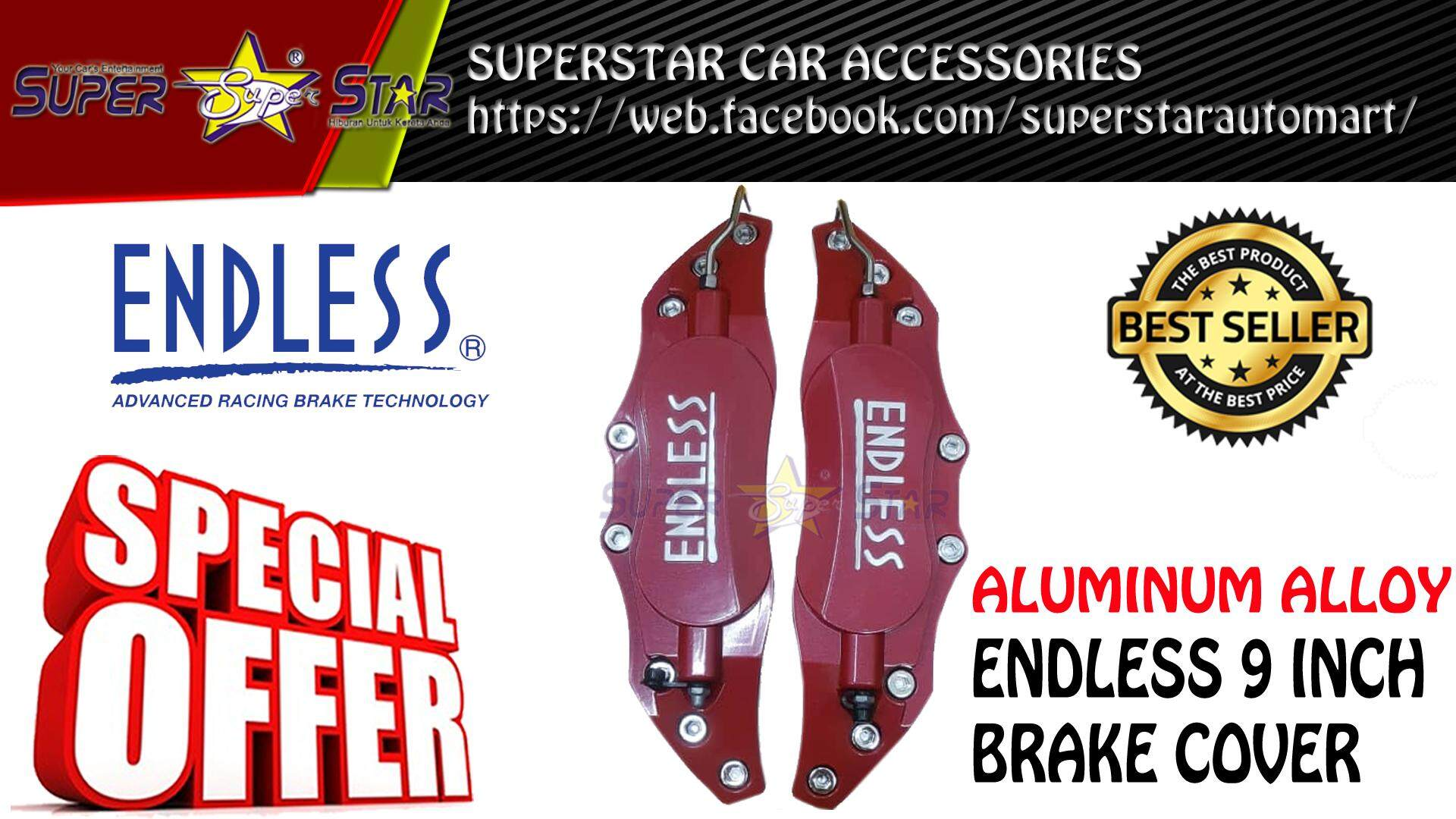 ENDLESS 9 INCH BRAKE COVER (RED)
