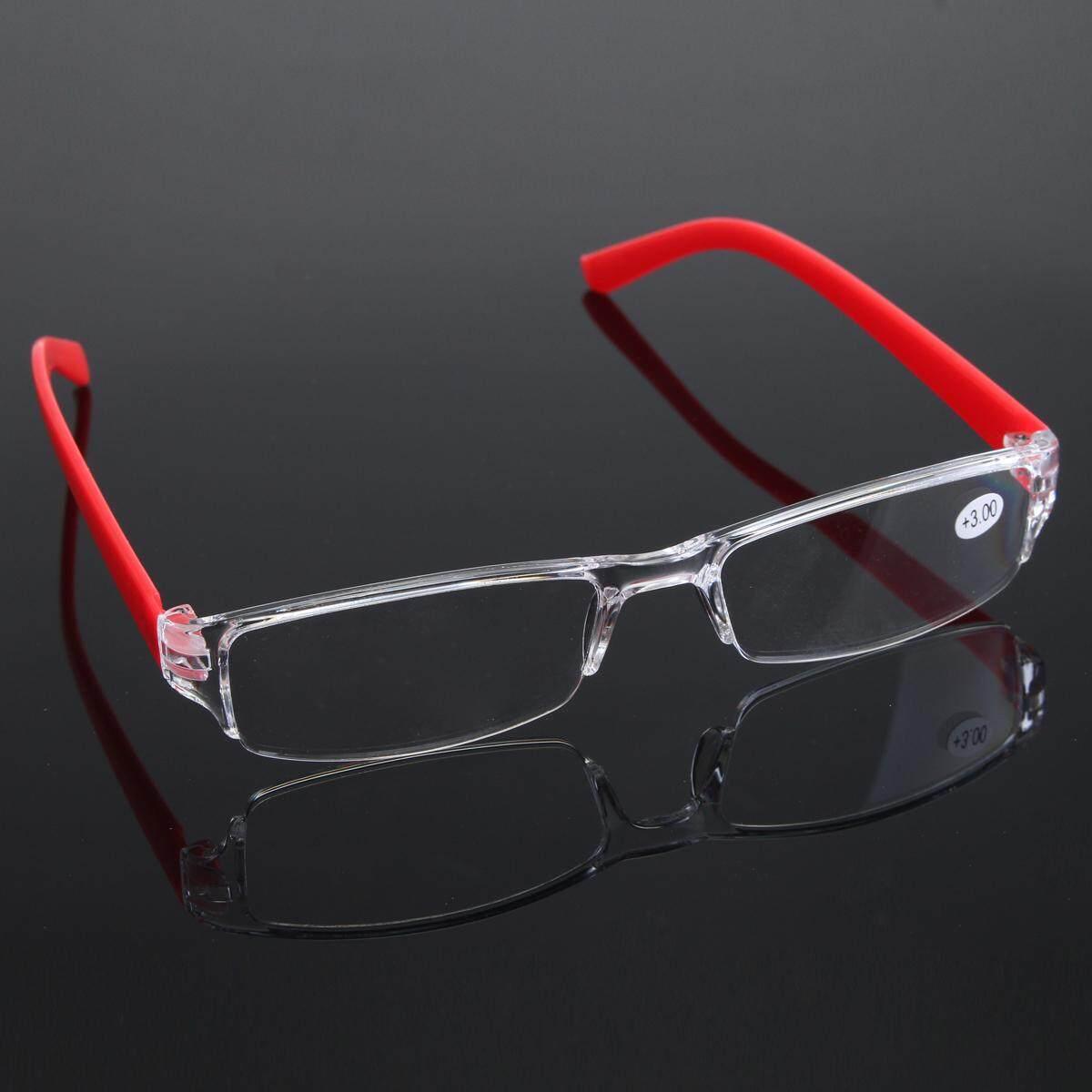 Berbobot Ringan Merah Tanpa Bingkai Resin Kaca Pembesar Baca Kacamata Kelelahan Meringankan Kekuatan 3.0-Intl