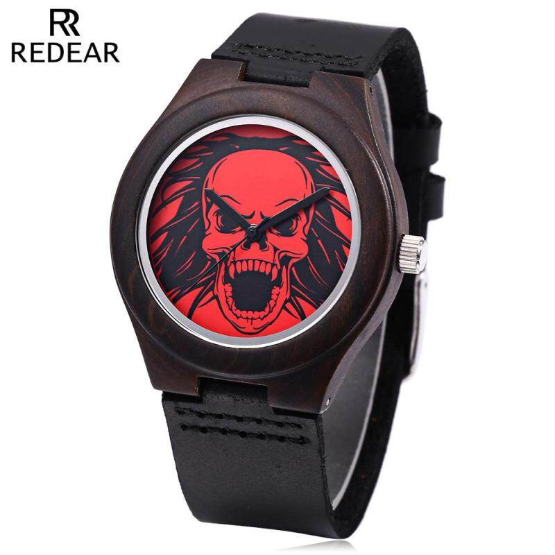 REDEAR Female Quartz Watch Skull Pattern Dial Imported Movt Wooden Case Leather Band Wristwatch Malaysia