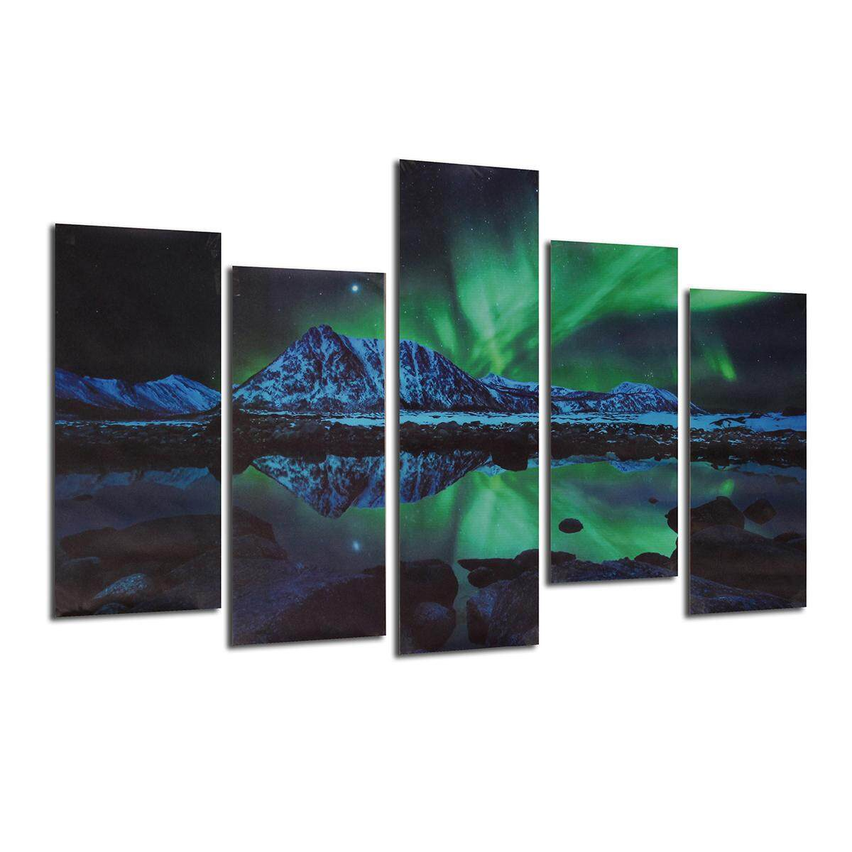 Wall Painting Green Blue Modern Aurora Borealis Art Picture Canvas Print By Moonbeam.