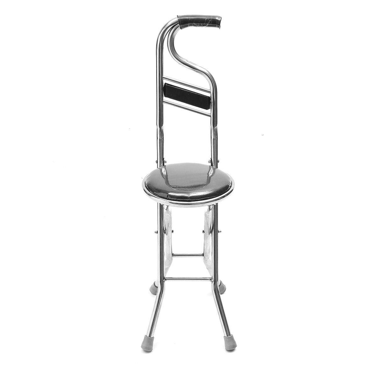 【Free Shipping + Flash Deal】Stainless Steel Portable Folding Walking Stick Chair Seat Stool Travel Cane # Black