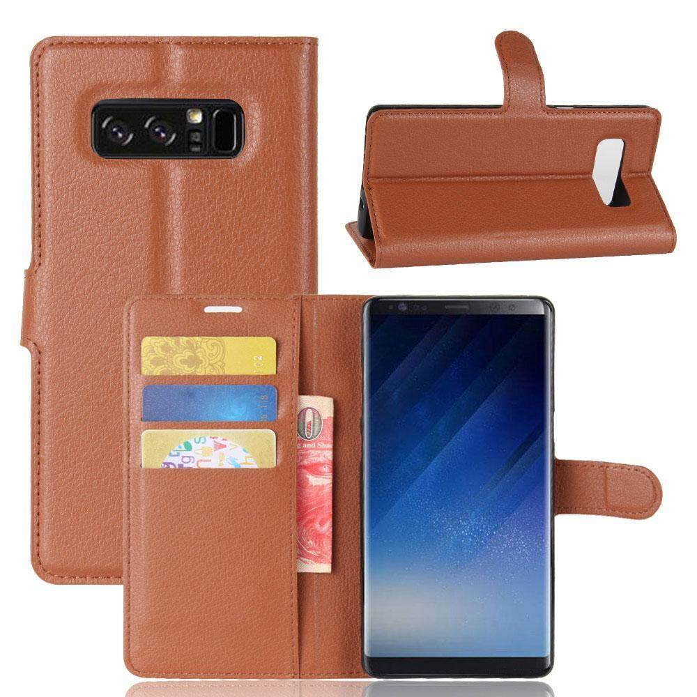 Aojbteng untuk Galaksi Note 8 Case-Pu Kulit Guncangan Penyerapan Magnetik Lipat Case dengan Stand Penyangga dan Slot Kartu Pelindung sarung untuk Samsung Galaksi Note 8 (Cokelat) -Internasional