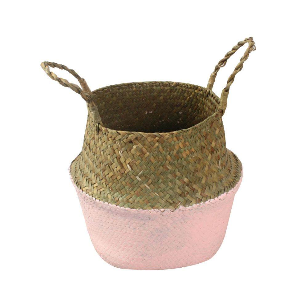 Brand New Bigfamily Plant Flower Pots Storage Foldable Basket Handle Bag Woven Handheld Toy Durable Creative Multicolor Willow Grass Weave Intl