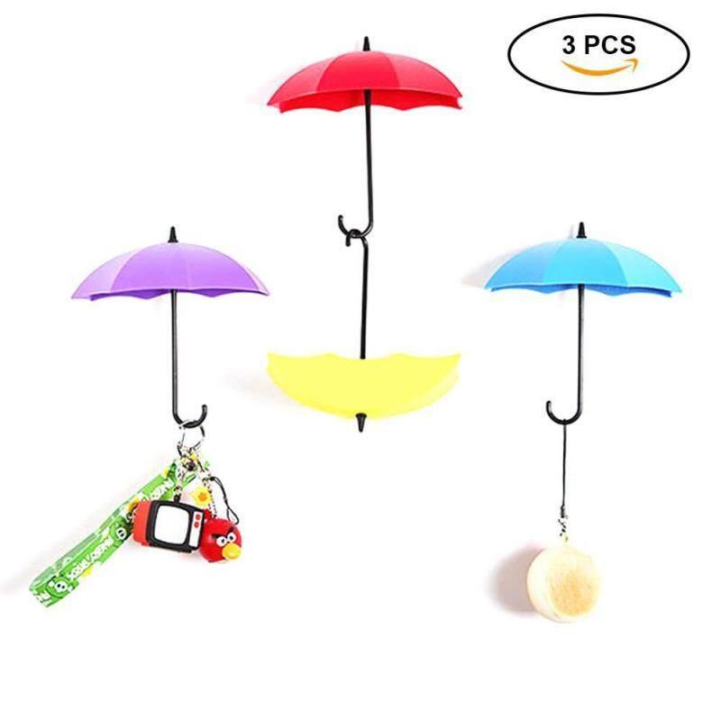 Teekeer Free Nail Glue Umbrella Shape Wall Hooks Three Containers, Small Decorative Objects Single Hook Creative Stick Hook