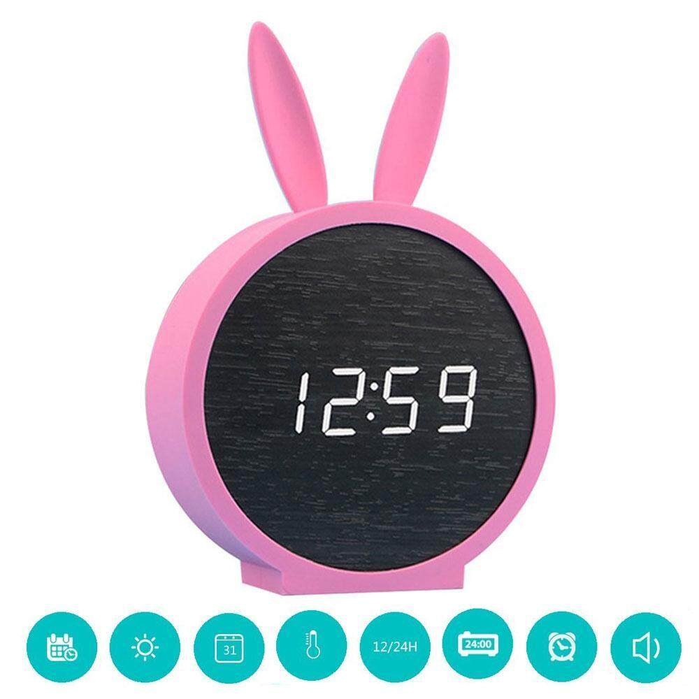 HExinDEE Cute Rabbit Wood LED Alarm Clock,Home Digital Sound Control Bedside Clock With Time Temperature Display 12/24 Hour Format