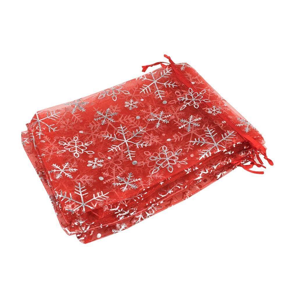 Hình ảnh SOBUY 100 cái Bông Tuyết Đàn Organ Tặng Túi Túi Cưới Quà Tặng Giáng Sinh Túi Đảng Ủng Hộ, Túi-Đỏ-quốc tế