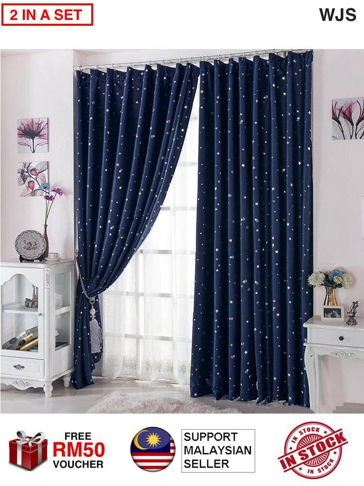 (2 PIECES) WJS Premium Quality Stary Night Style Blackout Curtain Dark Stary Dark Blue Green WITH HOOKS [FREE RM 50 VOUCHER]
