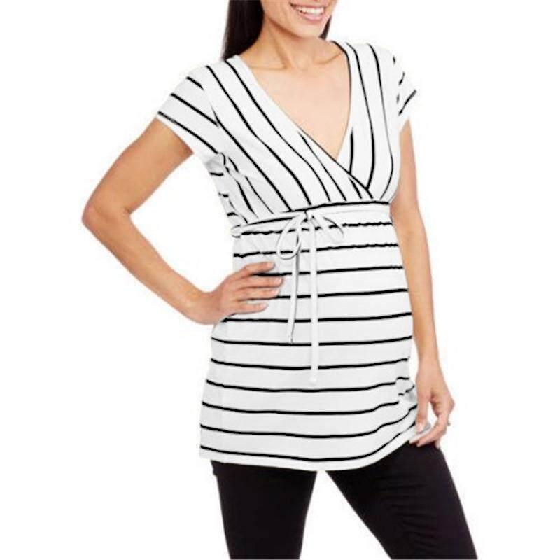 917fd0ef91e64 VONDA Hot Summer Tops Tees Women Striped Shirts 2018 Sexy V neckShort Sleeve  Blouses Long Blusas