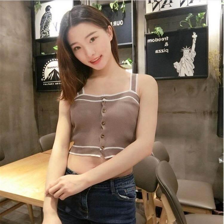 2018 Versi Korea dari Pembohong Ramping Kecil Their Sweater Wanita Pakaian Rompi Tombol Di Dalam Kemeja Bawah-Internasional