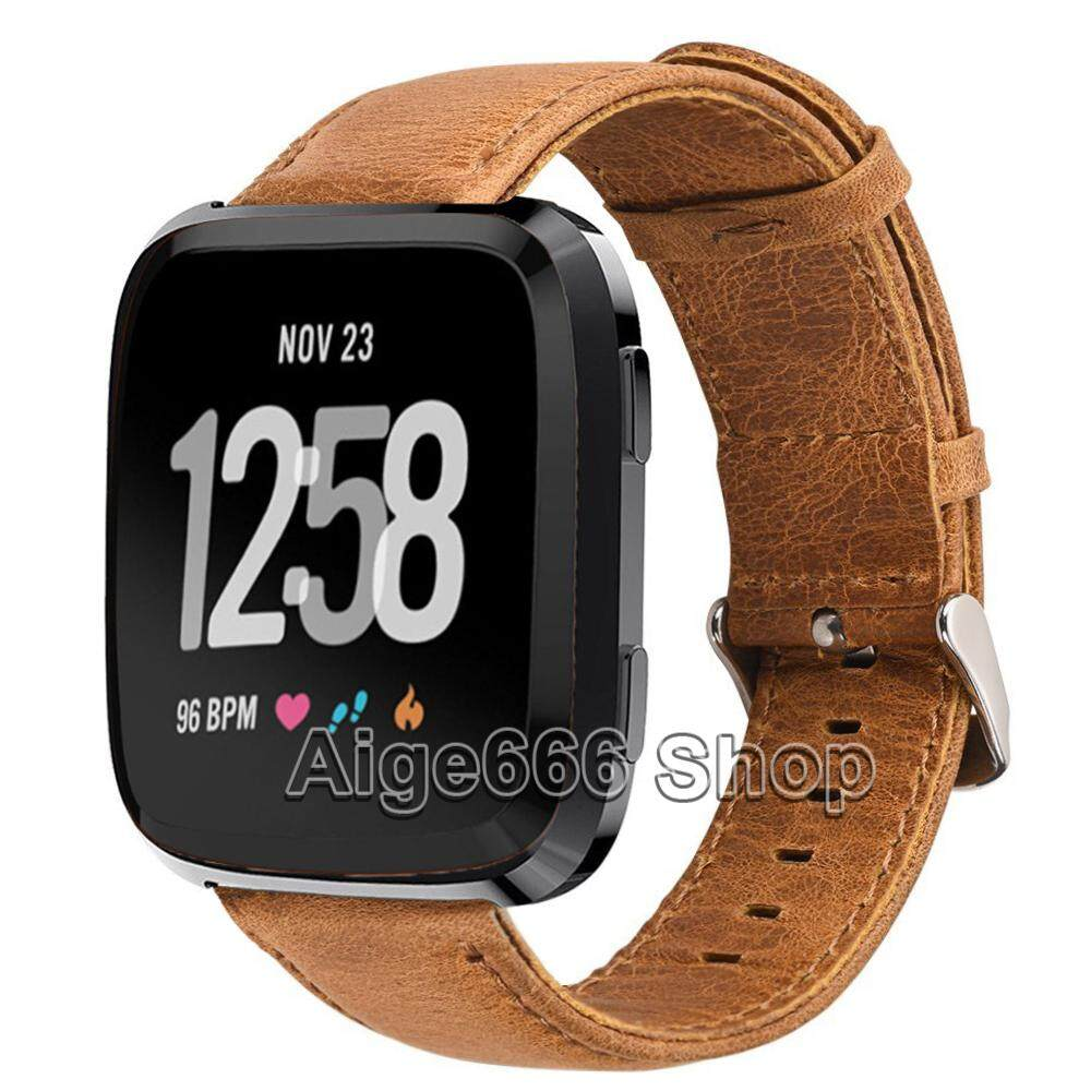 Cowhide Leather Band Strap for Fitbit Versa Smart Watch