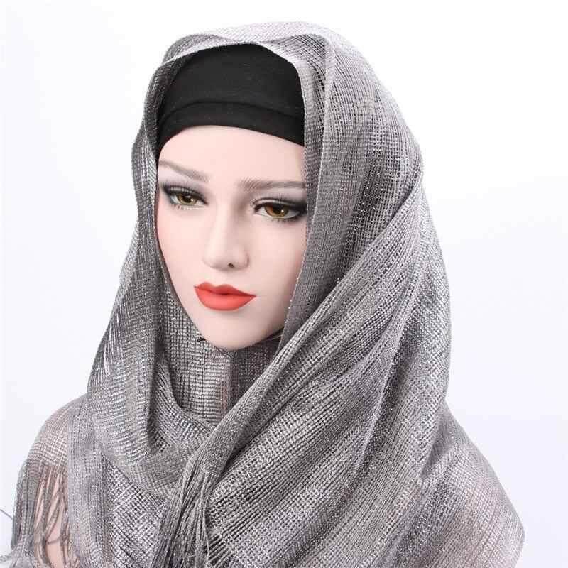 【Yupt】2018 Baru Kualitas Bagus Yang Menarik dan Tahan Lama 7 Warna Muslim Modis Cerah Syal Syal Wanita Ganda-Menggunakan Rumbai piring Scarves Panjang Selendang Jilbab Bling Jilbab-Internasional