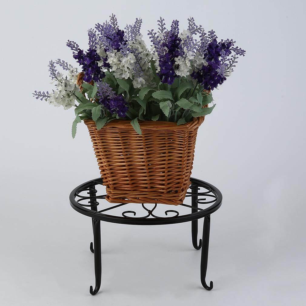 European Style Metal Flower Pot Rack Shelf (Black)