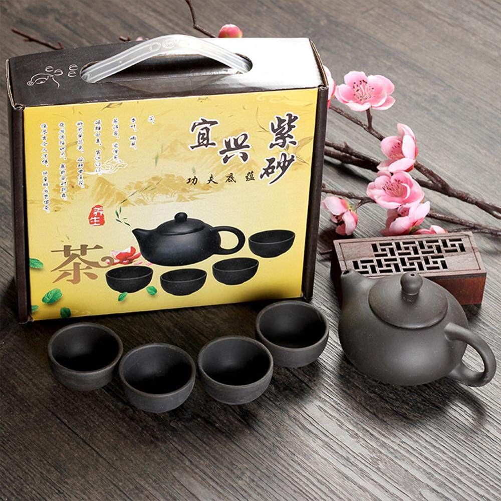 Zisha Tea Set Teapot Tea Cup Pot 4 Cup Set Kung Fu Teapot Gifts - 3