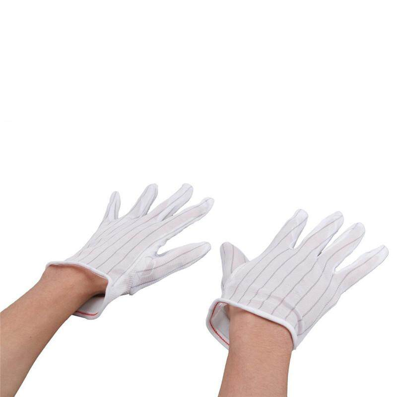 NEW 1 Pair ESD PC Computer Working Antiskid Anti-static Anti-skid White Gloves New Polyester Hot Sale - intl