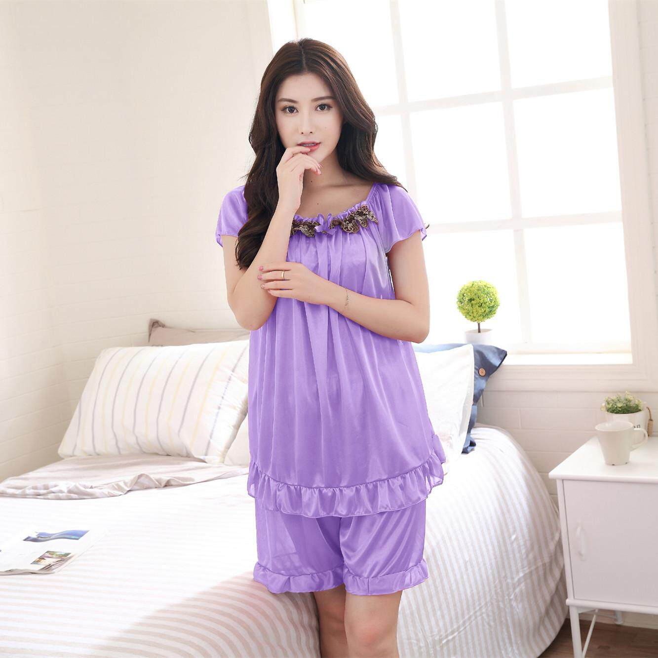 Bolster Store Sexy Lingerie Women Ladies Sleepwear Satin Silk Pajamas Baju Tidur Set of 2 Blouse + Pants