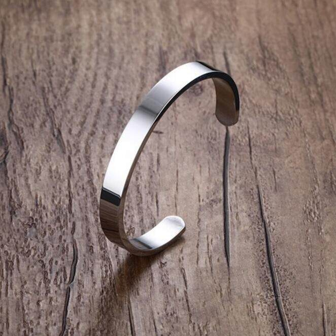Kemstone 8mm Simple Titanium Steel Open Bangle Bracelet For Men By Kemstone Jewelry.
