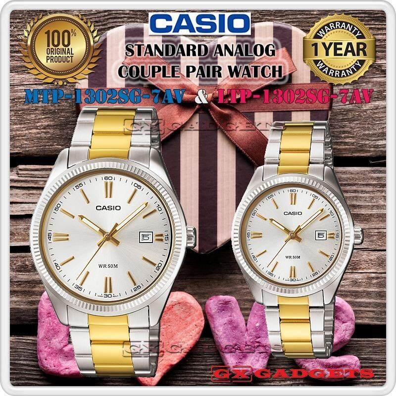 CASIO MTP-1302SG-7AV + LTP-1302SG-7AV STANDARD Analog Couple Pair Watch Date Stainless Steel Band WR50m MTP-1302 LTP-1302 1302 Series Malaysia