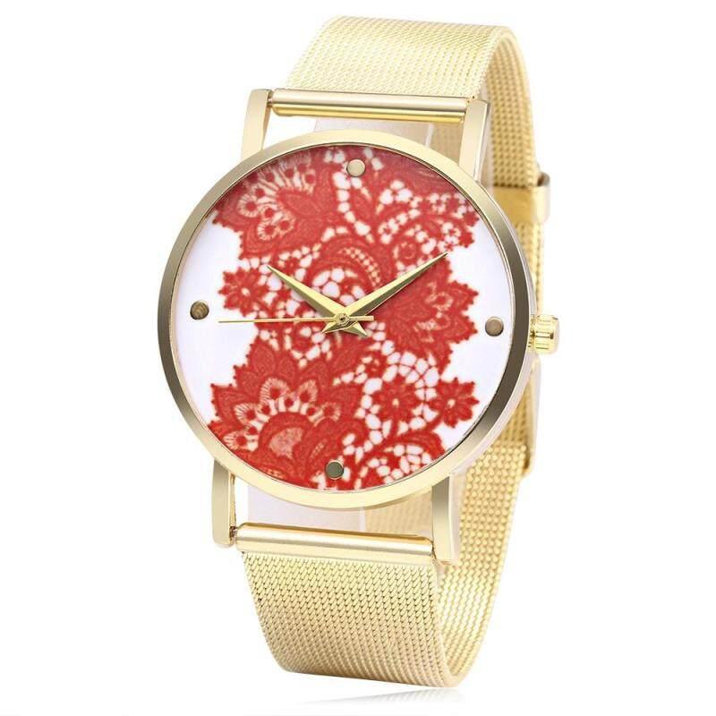 466 Unisex Quartz Watch Stainless Steel Net Band Exquisite Pattern Dial Wristwatch Malaysia