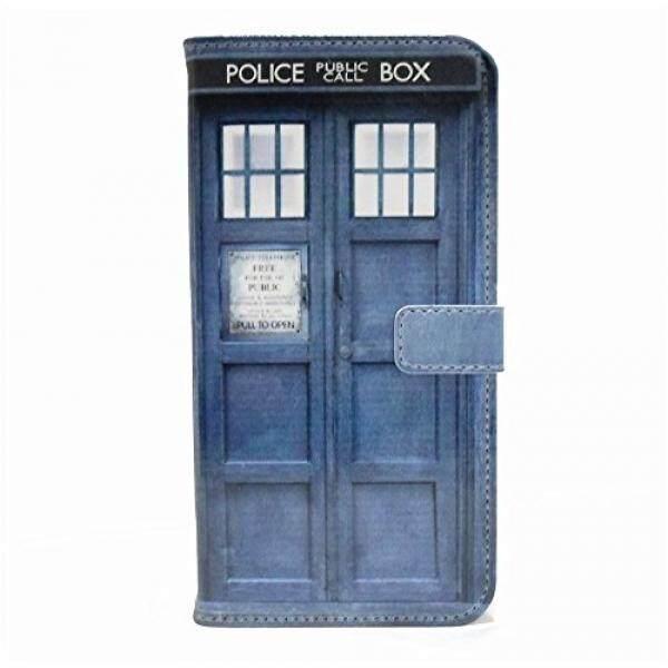 S6 Case, galaksi S6 Dompet Case-TARDIS Biru Police Panggilan Kotak Pola Ramping Dompet Kartu Lipat Penyangga PU Kulit Kantung Case sarung untuk Samsung Galaksi S6-Keren Sebagai Hadiah Hebat-Internasional