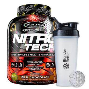 MuscleTech Nitro Tech, Milk Chocolate, 4lbs (Plus BlenderBottle Classic Black)