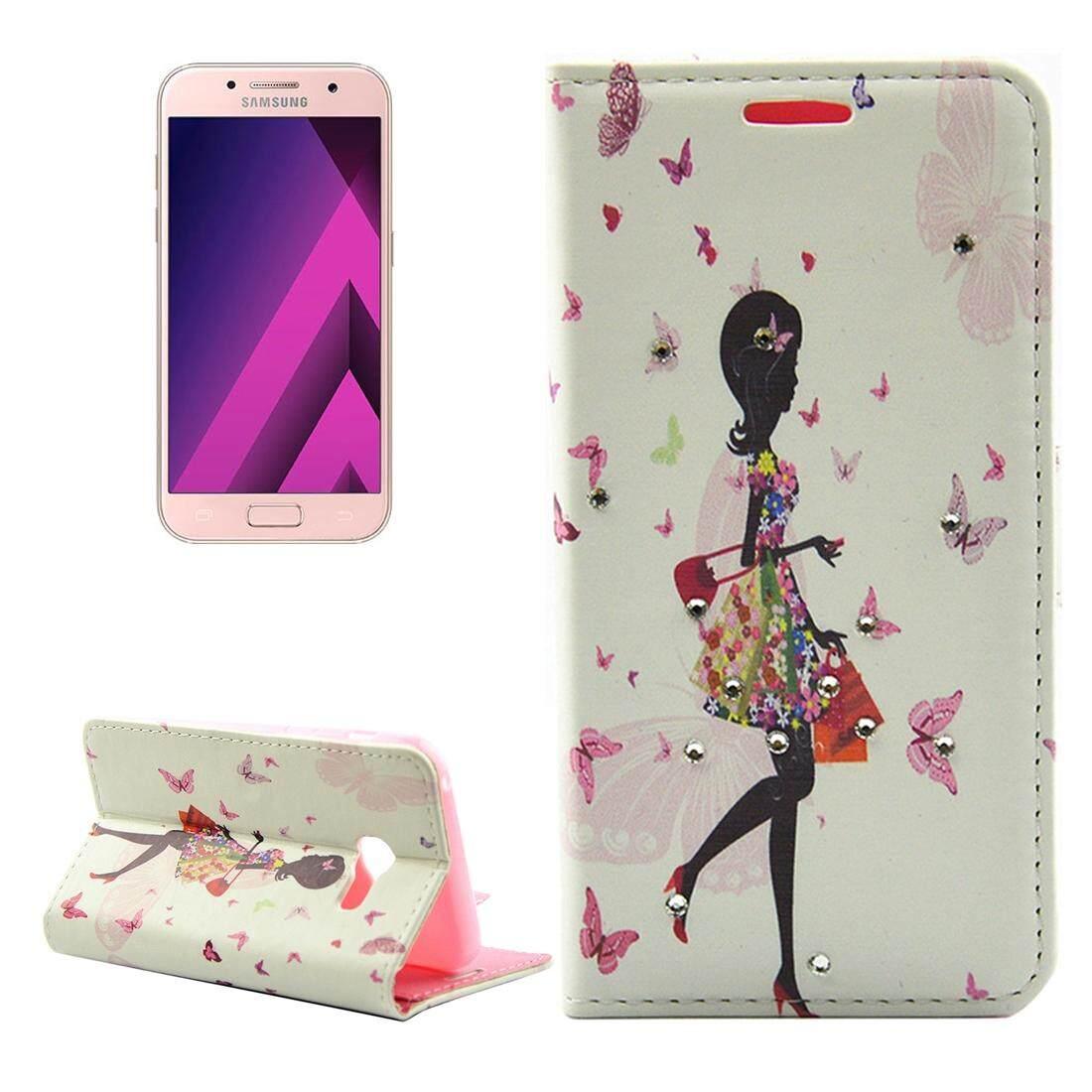 Untuk Samsung Galaksi A5 (2017) /A520 Kupu-kupu dan Belanja Perempuan Pola Berlian Bertatahkan Kulit Horisontal Lipat Case dengan Slot Pemegang & Kartu & dompet-Internasional
