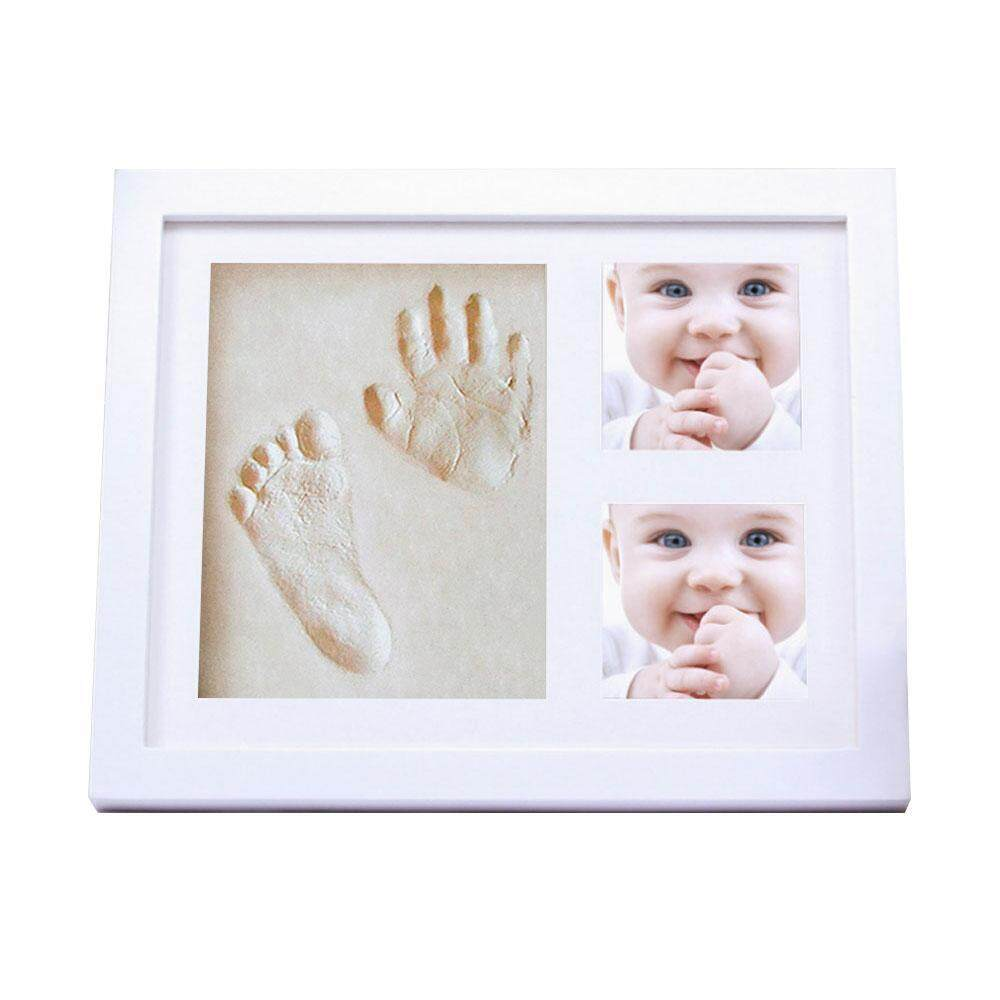moob Baby Handprint, Footprint Picture Frame Kit, Unique Baby Shower Gifts Set For Registry, Memorable Keepsake Box Decorations For Baby Shower Gifts - White - intl