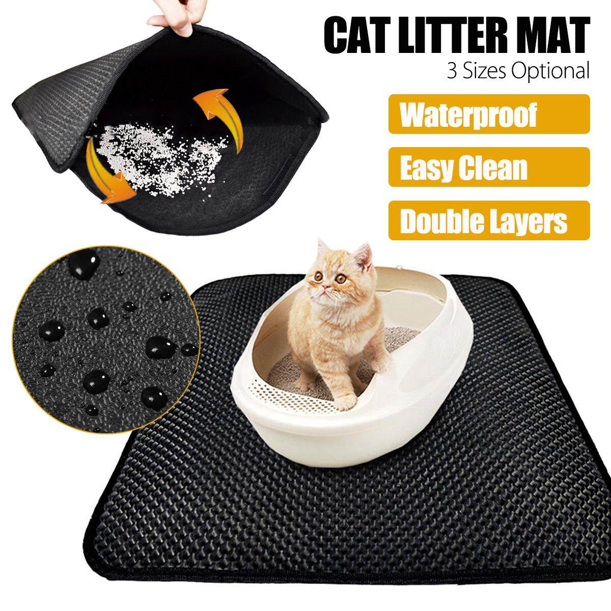 Non Slip Waterproof Cat Litter Mat Pad Double Layer Trapping For Box Pan Large (46 60Cm) Intl Lower Price