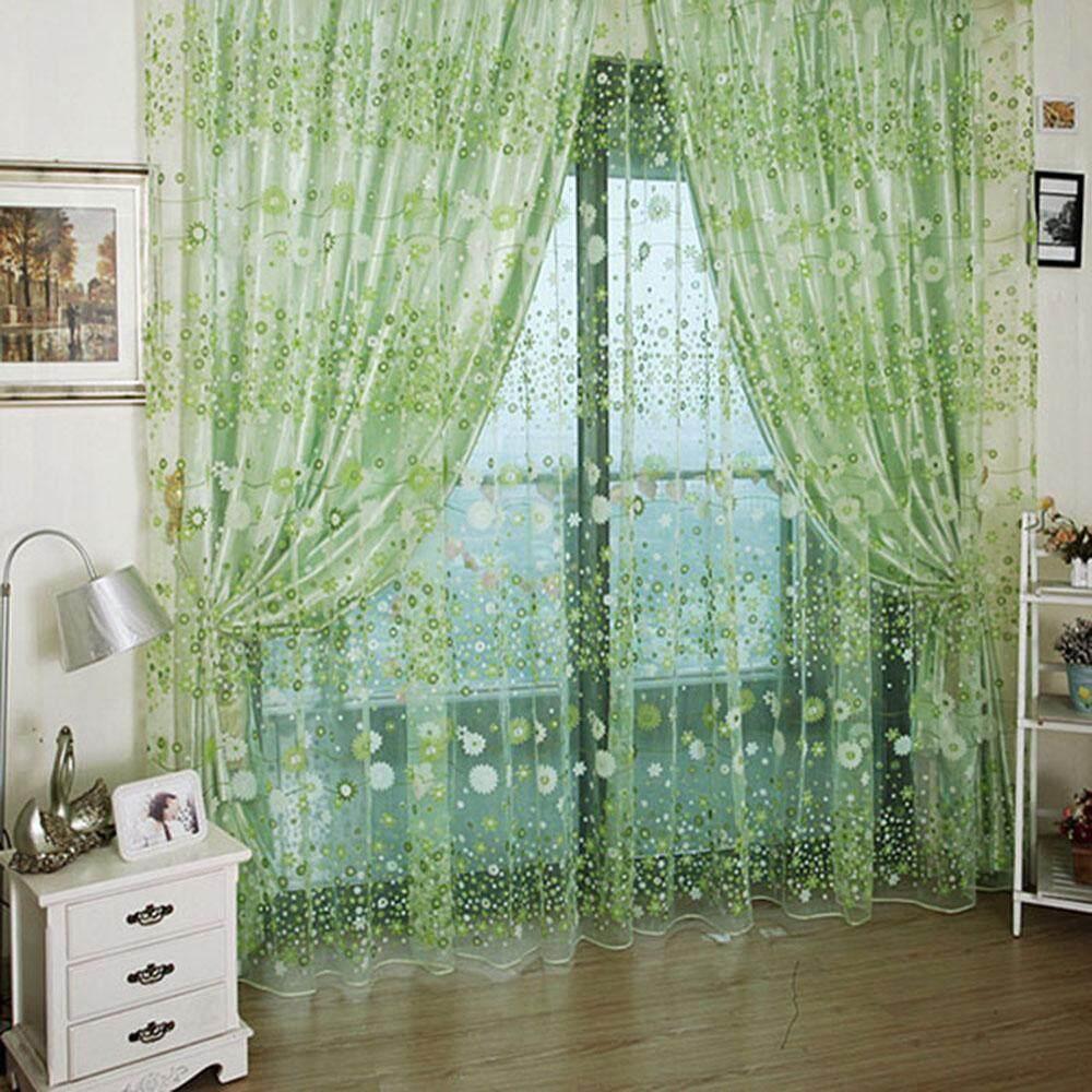 coobonf Roman Rod Type Village Garden Style Lovely Flower Drapery Sheer Type Tulle Curtain (Yellow)