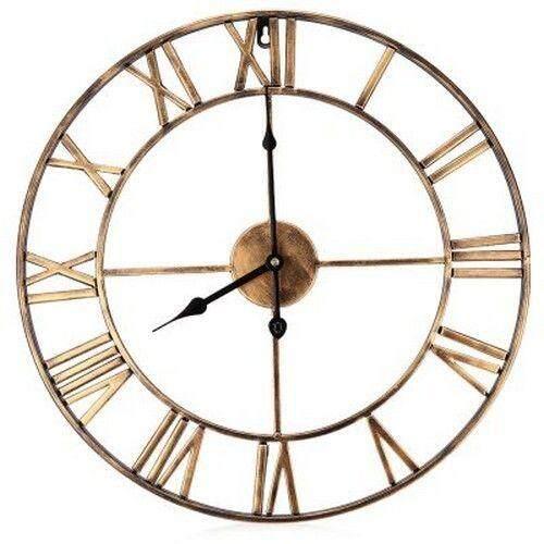 18.5 Inch Oversized 3D Iron Decorative Wall Clock Retro Roman Numerals Design (COPPER COLOR)
