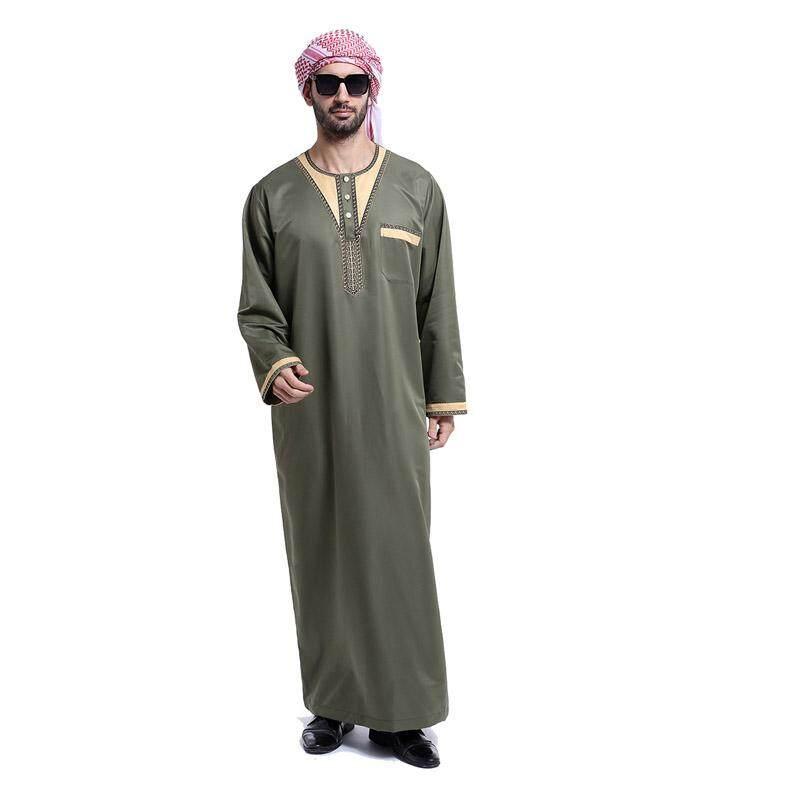 Muslim Pria Jubah Arab Pakaian Islami Pakaian Orang Dewasa Islam Abaya Muslim Thobe Lengan Panjang Timur Tengah Pria Robe Bordir