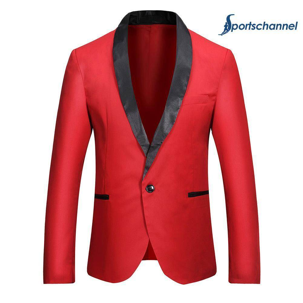 1a027287f5bb Men Fashion Leisure Splicing Color One-Button Blazer Business Suit Coat