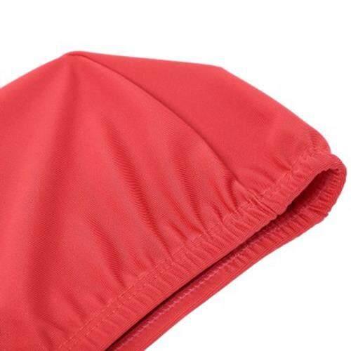 ELASTIC WATERPROOF NYLON PROTECT EARS LONG HAIR SWIMMING CAP FOR MEN WOMEN (RED)