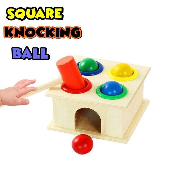 Square Knocking Ball - Wooden Toys Color Ball Striking Table Four Layer Knock Table Baby Hand Game Toys Child Early Education Toys
