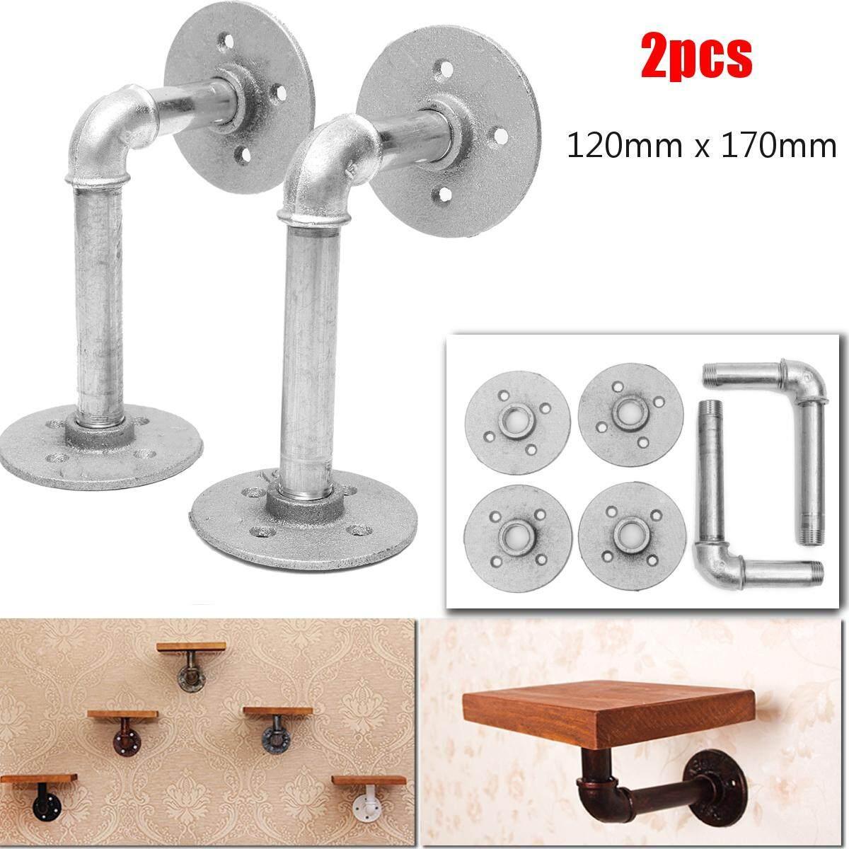 2x Vintage Industrial Steampunk Iron DIY Pipe Shelf Brackets Support Holder