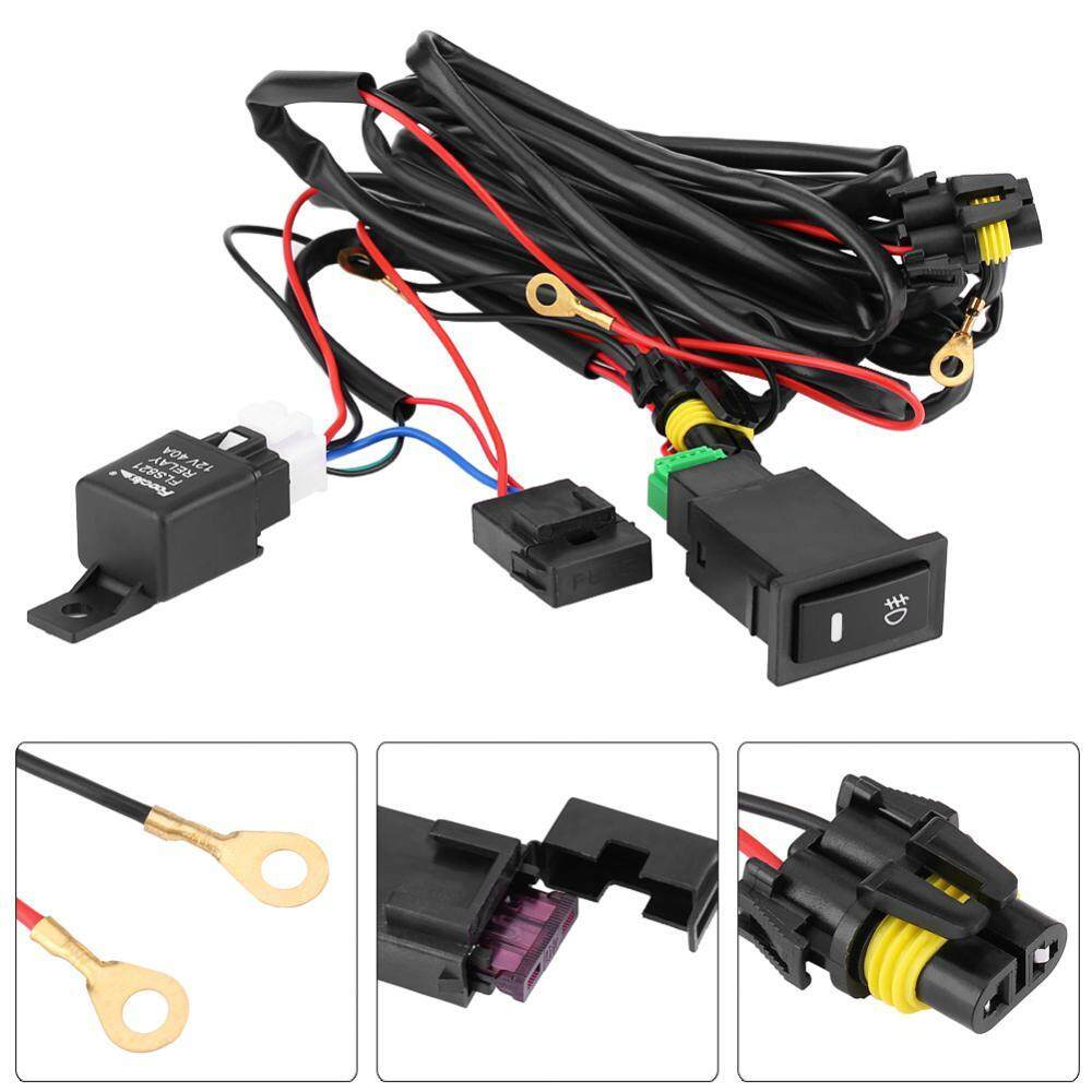 Features Electric Cooling Fan Wire Harness Kit Relay Circuit Breaker With Led 12v Universal Car Fog Light On Off Switch Wiring Fuse