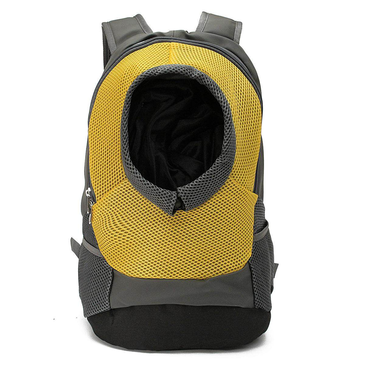 Pet Cat Puppy Carrier Front Tote Backpack Mesh Heads Out Travel Shoulder Bag Yellow M - Intl By Freebang.