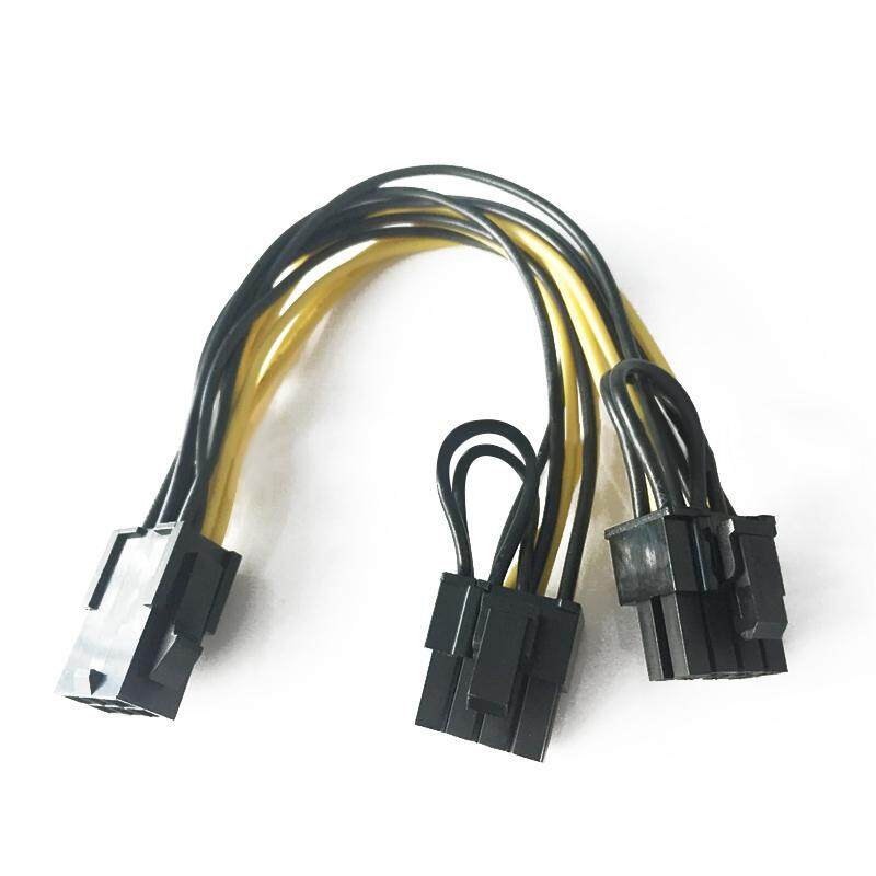New Pci-E 6-Pin To 2x 6+2-Pin (6-Pin/8-Pin) Pcie Pci Power Splitter Cable - Intl By Amart.