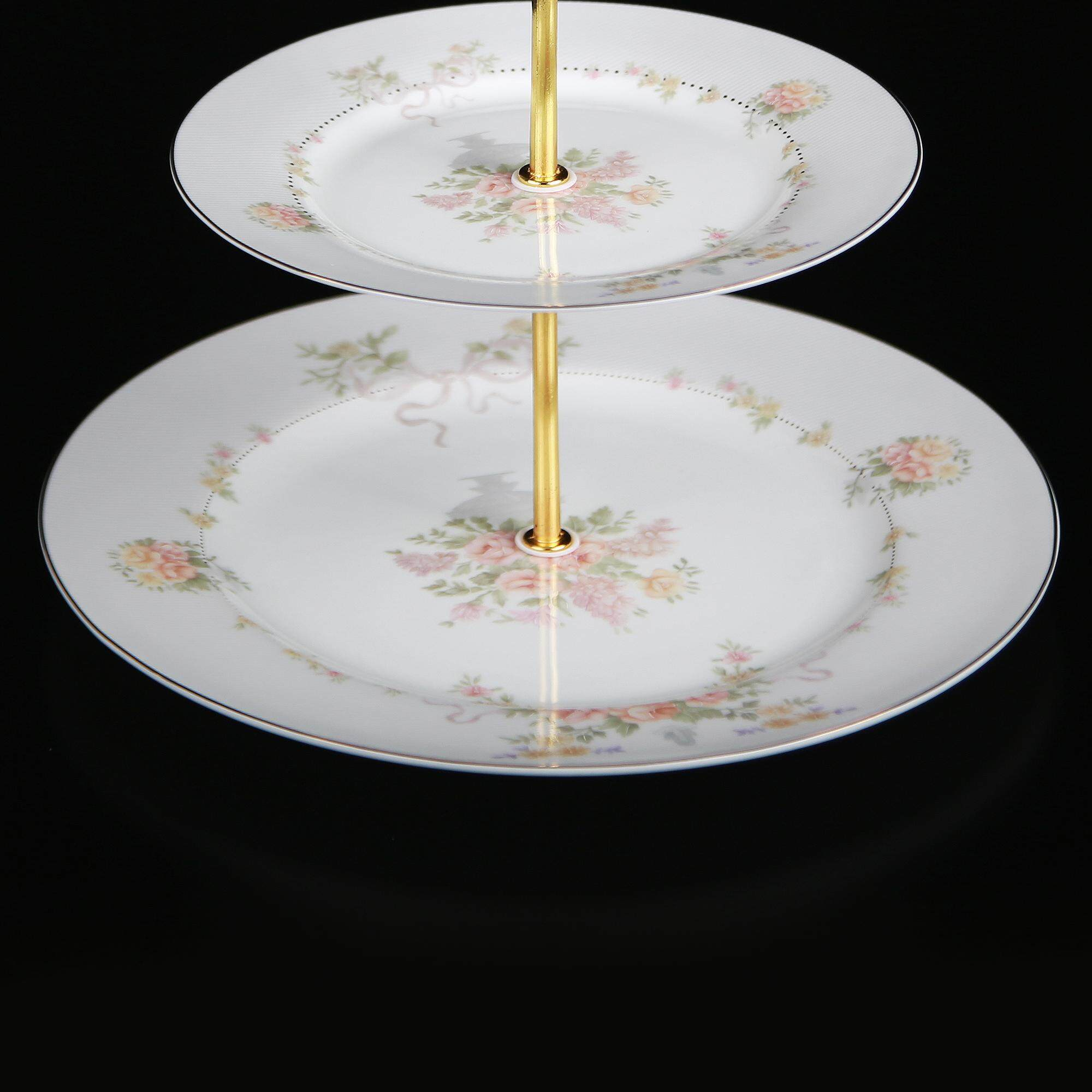 Queens Superfine Porcelain 3 Tier Cake Plate - Bouquet of Roses - 2