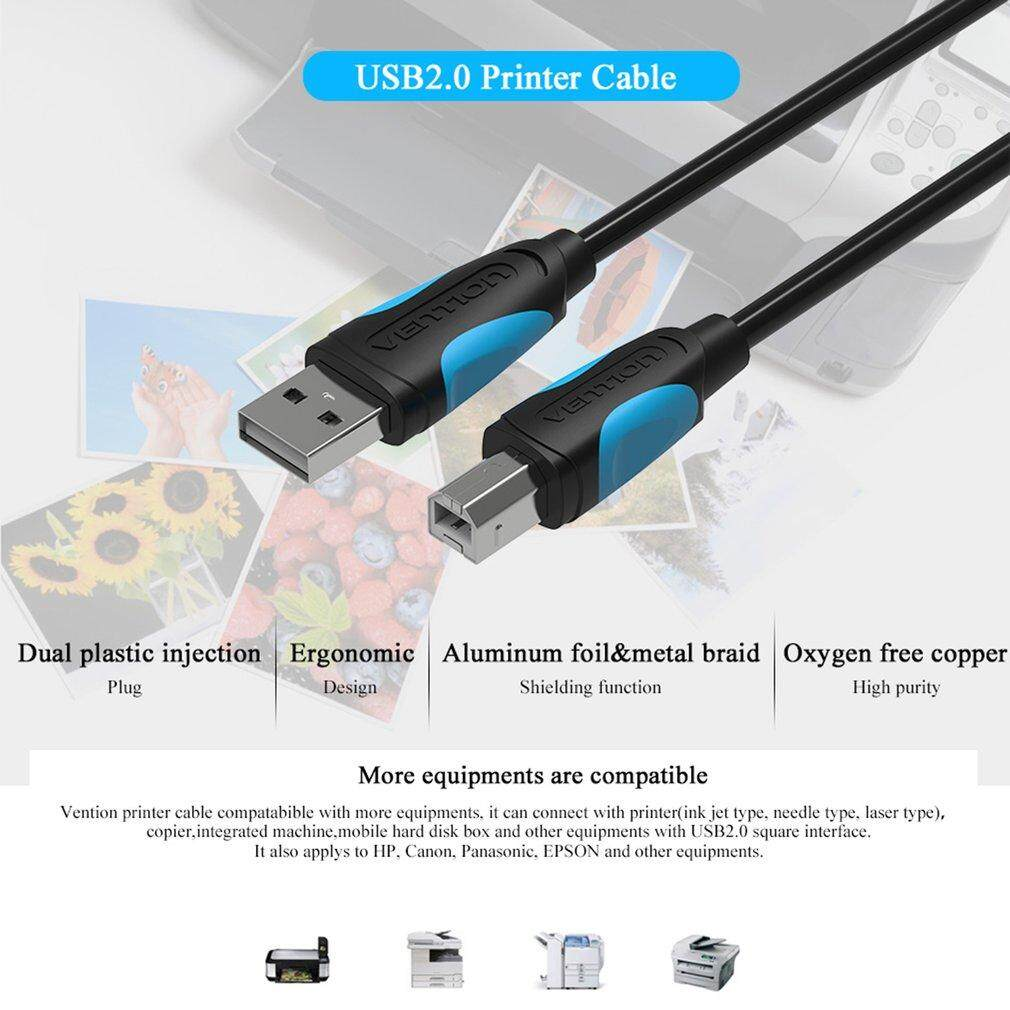 Yika VENTION A16 Male To Male USB 2.0 Square Port Sync Data Printer Data Cable(Length: 2m)
