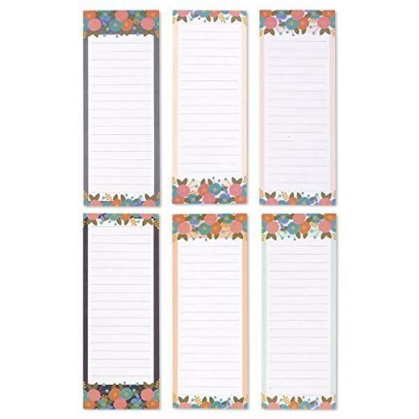 Set dari 6 Magnetik Notepads-Magnetik Memo Bantalan, Bunga Pola Kulkas Notepads untuk Daftar Belanjaan, daftar, Tugas Keluarga, 3 Desain-3.5X9 Inci-Internasional
