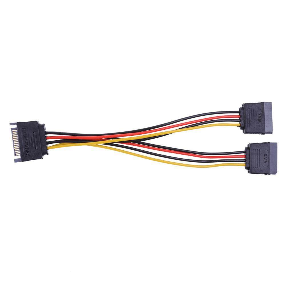 15pin Sata Port To 2 15pin Sata Splitter Cable Extender Power Adapter Cable - Intl By Crystalawaking.