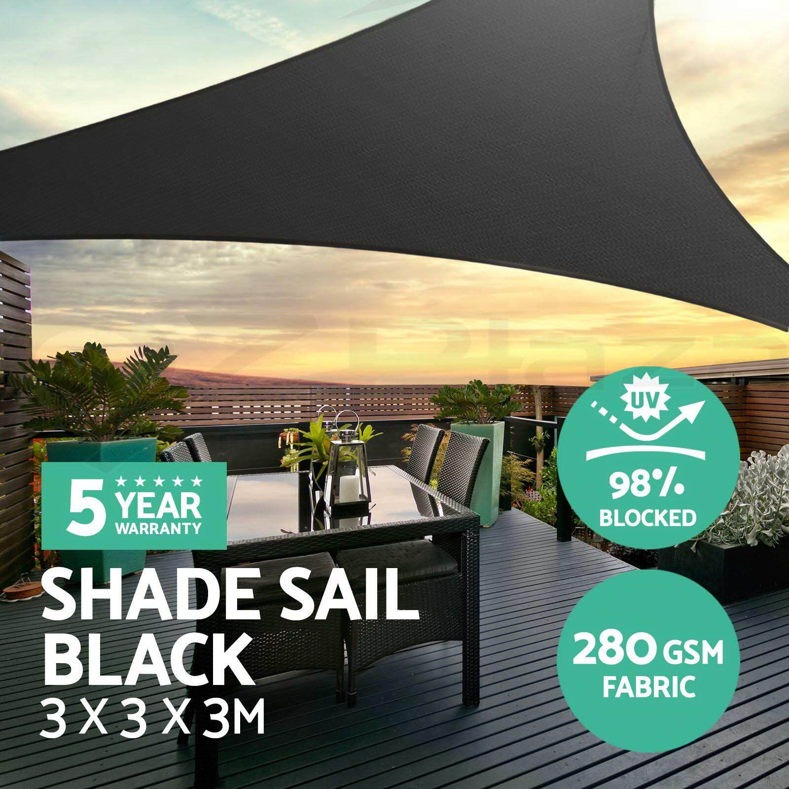 Extra Heavy Duty Shade Sail Sun Canopy Outdoor Triangle Square Rectangle Black  5*5*5m By Moonbeam.