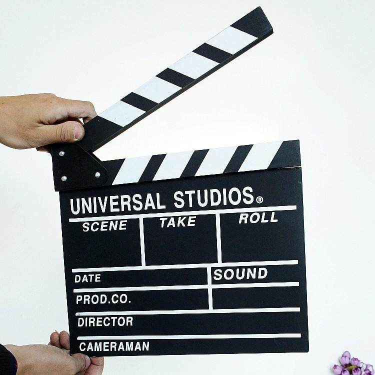 Action Board Hardwood Clap-stick Clapper Board Slate for Film Movie Cut Action Scene