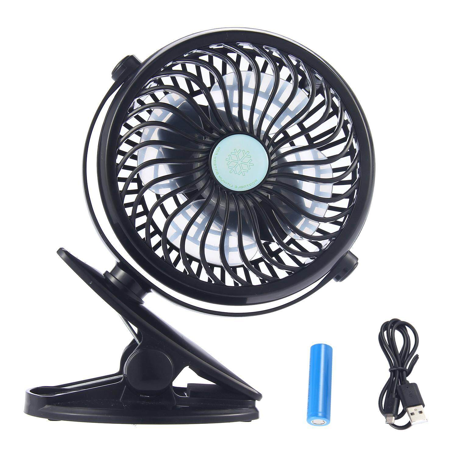 jiaukon Mini Portable USB Fan,360° Rotating Rechargeable Battery Operated Clip on Desk Table Fan Cooler for Home Office Baby Stroller Car Laptop Study Table Gym Camping Tent Dorm Rooms(Black) - intl