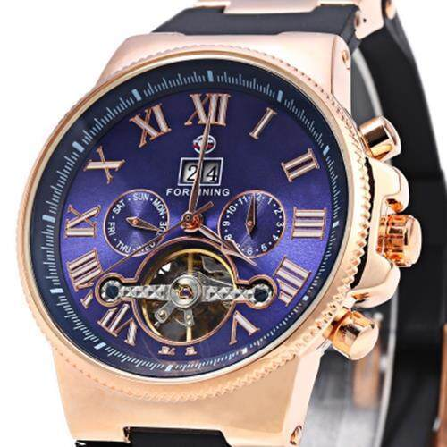 FORSINING 2373 TOURBILLON AUTOMATIC MECHANICAL WATCH FOR MEN RUBBER BAND DATE WEEK MONTH DISPLAY (ROSE GOLD AND BLACK AND BLUE)