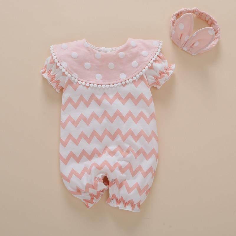 Lucu Musim Panas Bayi Perempuan Pakaian Anak Baru Lahir Kelinci Ikat Kepala Titik Bayi Perempuan Badan